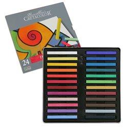 """Набор необоженной сухой пастели """"PASTEL CARRE"""", 24 цвета в металлической коробке, размер пастели 7х7 мм, длина пастели 72 мм"""