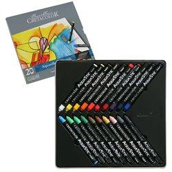 Пастель масляная водорастворимая AQUA STIC, набор 20 цветов, металлическая коробка
