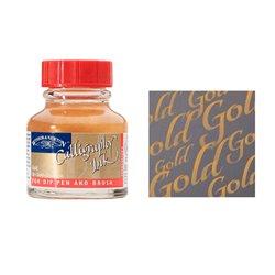 Тушь для каллиграфии красная крышка, 30мл, золотая