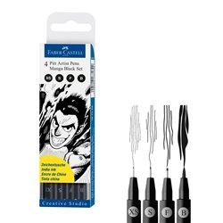 """Набор капиллярных ручек Faber-Castell """"Pitt Artist Pen Manga Black set"""" черные, 4шт."""
