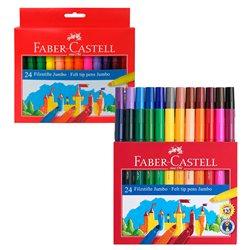 """Фломастеры Faber-Castell """"Jumbo"""", 24цв., утолщенные, смываемые"""