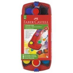 Акварельные краски CONNECTOR, набор цветов, в пластиковом поддоне с кисточкой 12