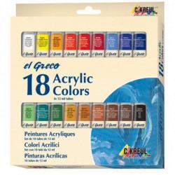 Набор акриловых красок El Greco, 18 цветов по 12 мл.