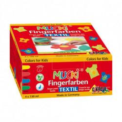 Набор пальчиковых красок по ткани Mucki Kreul / 4цв х 150 мл