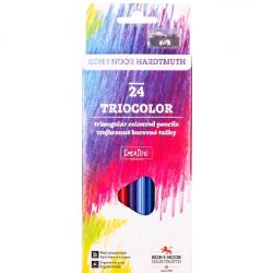 Карандаши цветные TRIOCOLOR 3134 24цв с точилкой картон.упак. с подвесом